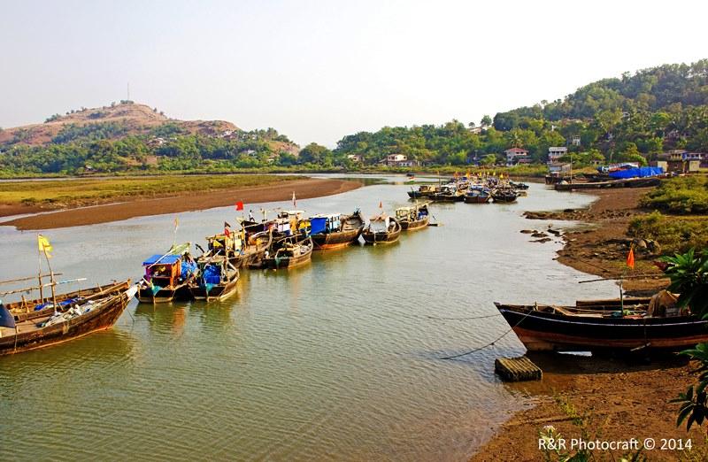 Line of Fishing Boats at Rajpuri