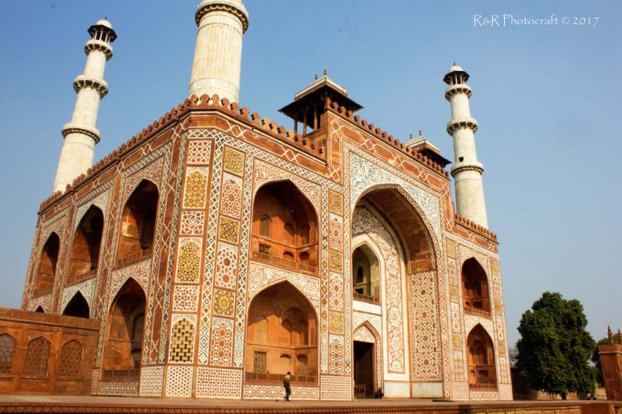 Diagonal view of the ornamented main gate of Akbar's tomb