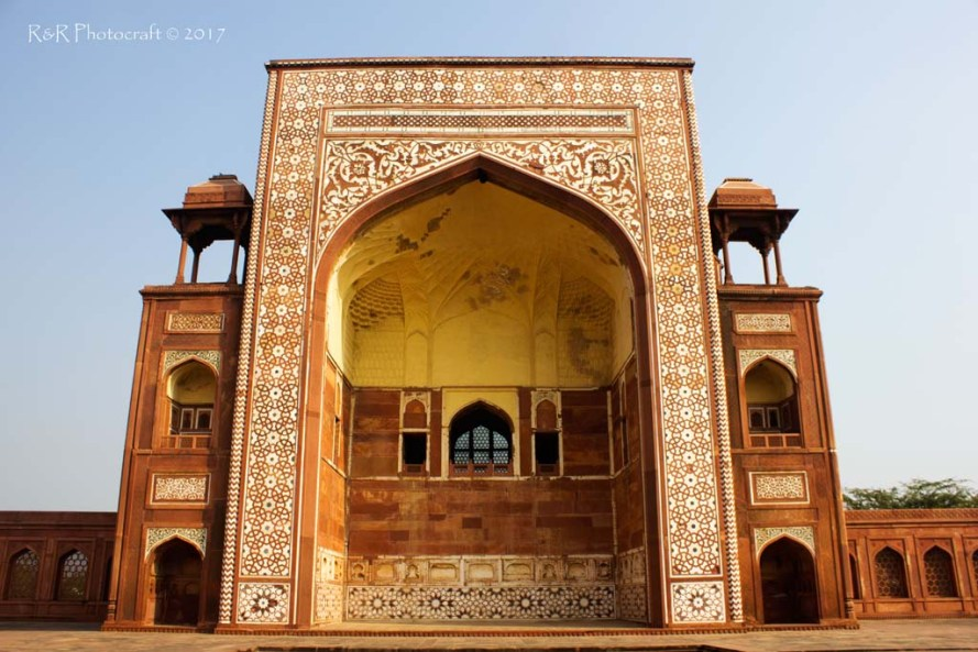 One of the four arched gateways of Akbar's Tomb